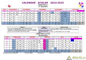 calendar cu structura an scolar